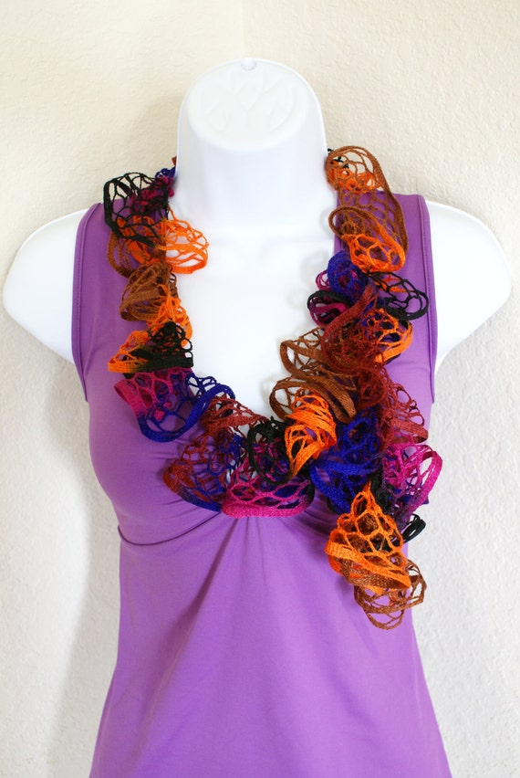 Ruffle scarf handmade  crochet lace and soft multicolored scarf for spring and summer