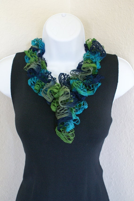 Ruffle scarf handmade  crochet lace and soft multicolored green blue scarf or belt for spring and summer