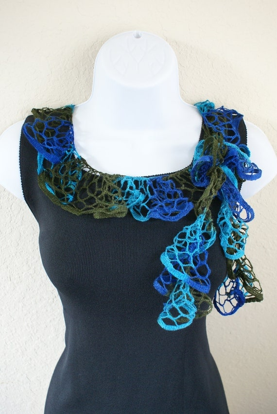 Ruffle scarf handmade  crochet lace and soft green blue scarf for spring and summer