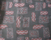 Tribal Geometric Fabric Rayon Cotton Blend 1950s Never Used Red & Gray  4 yds.