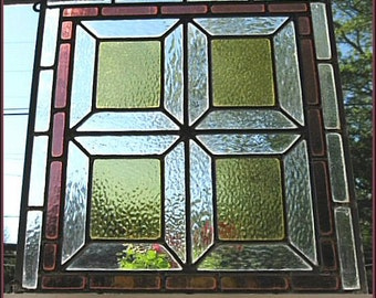 Antique Stained Glass Window, Arts & Crafts Period, Geometric Squares, Rose Clear Gold, 17 x 19, Lead Came w/ Zinc Border, Attached Hangers