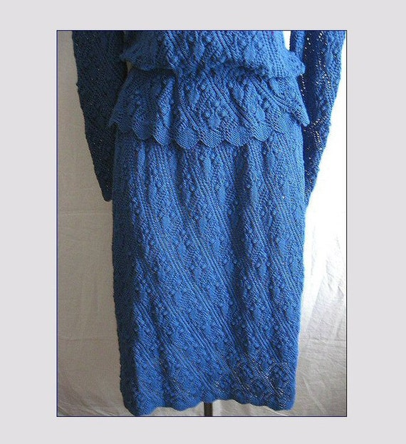 Vintage Blue Popcorn Knitted Sweater Skirt Outfit Dress Long Sleeves Size M