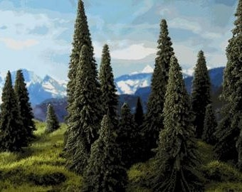 PINE TREES 35 pc. set - Model Railroads Layouts / Crafts  / Doll House / Fairy Garden Scenery / Party Favors