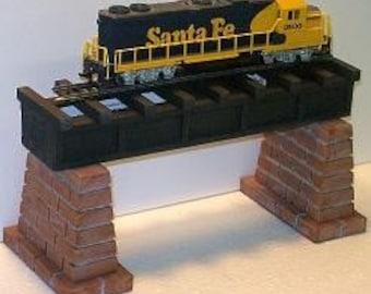 HO Scale WOODEN BRIDGE With Brick Piers// Model Railroad Train Layout Scenery