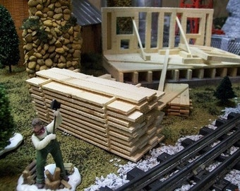 MINIATURE LUMBER PILE for Architecture Designs & Crafts, Model Railroad Layouts, Fairy Gardens or Sawmill Village Scenery