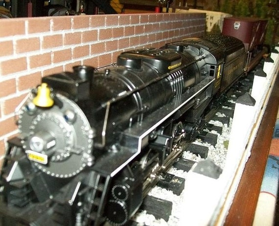"BRICK WALL // O Gauge Model Railroad / Photography Props / Birthdays / Crafts / School / Doll House Miniatures - 4"" Tall X 24"" Long"