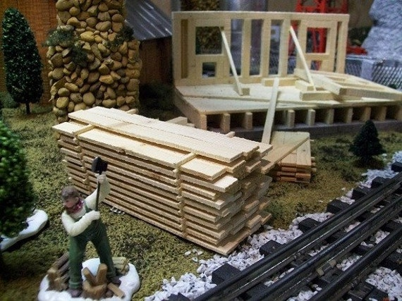 MINIATURE LUMBER PILE for Crafts, Model Railroad G Gauge Layouts, Fairy Gardens or Sawmill Village Scenery