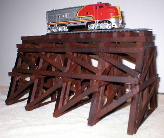 Model Railroad Wooden Train Trestle for HO Gauge Scenery Layouts and Dollhouse Villages
