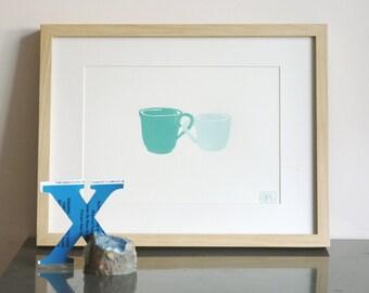 ON SALE!!!   --->  Cute Cuples (sea/blue)  Letterpress art poster / print