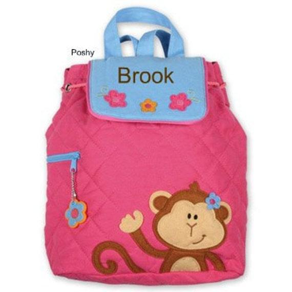 Custom Girls Backpack or Diaper Bag Stephen Joseph Quilted Monkey Girl Personalized