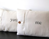 """Valentine Gift Linen """"You"""" & """" Me""""pillow cover 12x16"""