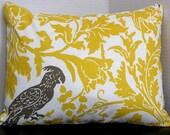 Yellow and Gray Pillow Cover - Lumbar 12 x 16