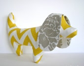Yellow and Gray Chevron Dachshund Dog - smaller size - OurPicketFence