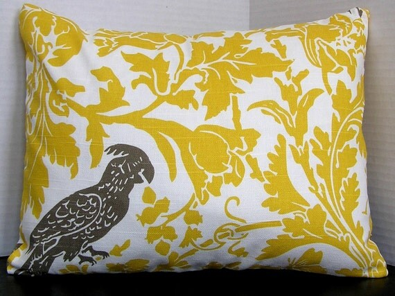 Yellow and Gray Pillow Cover - Lumbar 12 x 16