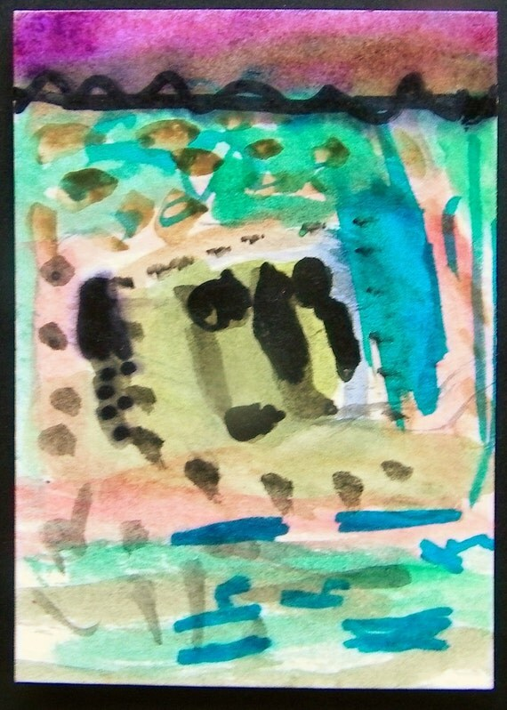 The Wind Storm ACEO original mixed media painting
