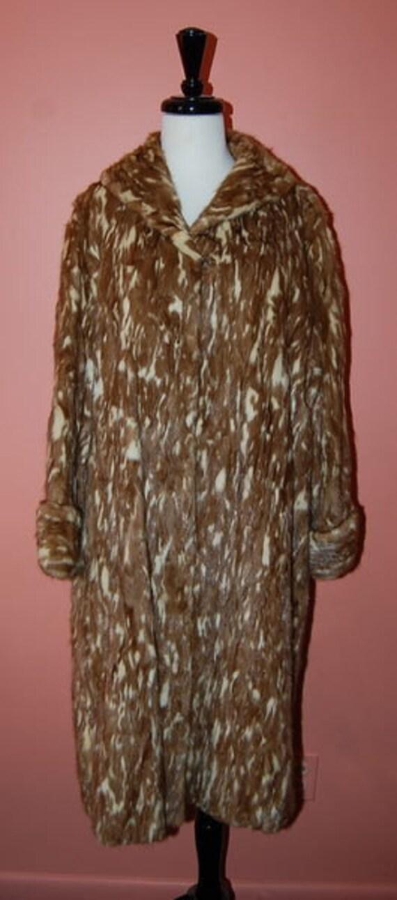 Vintage 40's Spotted Mink Long Fur Coat Evening Party Wear Luxurious Fur