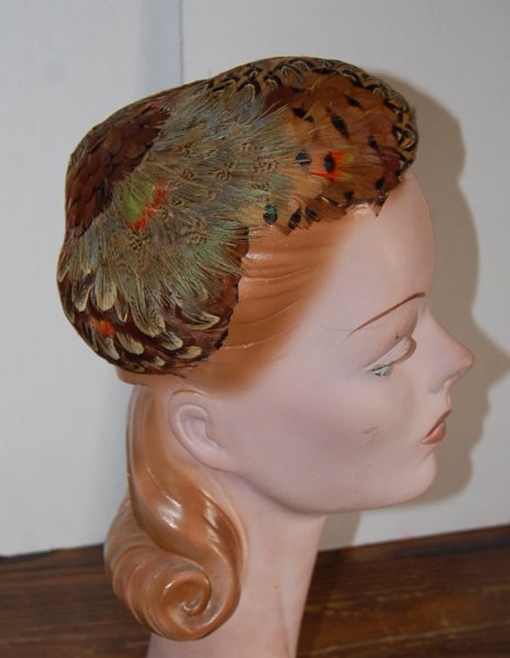 Vintage 1950's Peacock Feather Hat