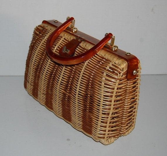 Vintage 1960s Wicker Handbag Fashionable Summer Stroller