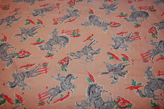 Vintage 1950's Cowboy Western Blanket Bedspread Horse Rodeo Decor