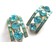 Vintage Aqua Blue Rhinestone1950s Earrings