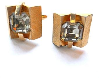 Vintage Rhinestone Cuff Links Swank Pale Blue Gold Toned