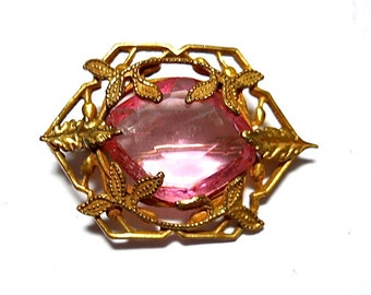 Victorian Pink Brooch 1900s Wedding Vintage Bride