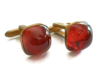 Vintage Cuff Links Hickok 1940s Red jelly belly.