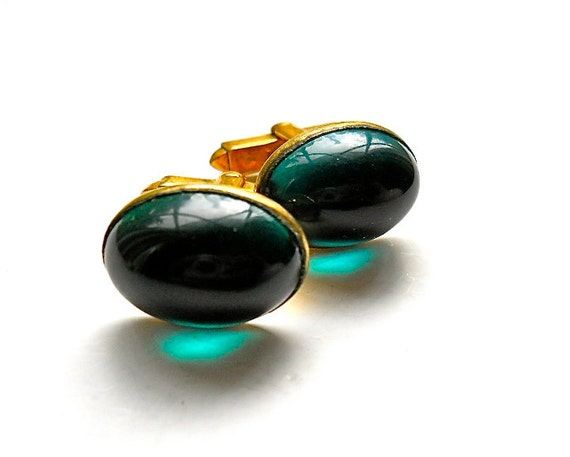Vintage Green Cuff Links  Glass Jelly Belly