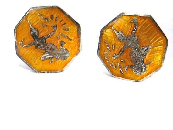 Rare Yellow Niello Earrings Sterling Goddess of Lightning Mekkalah