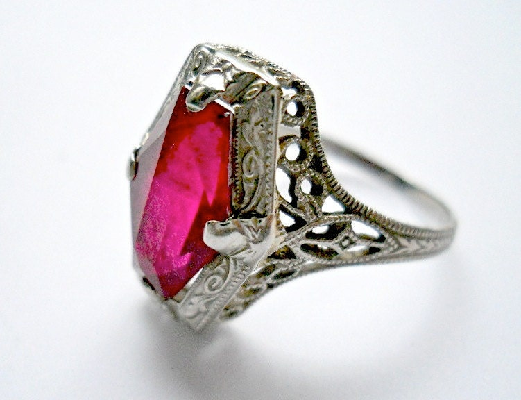 Antique Ring Ostby Amp Barton Red Stone 14k White Gold