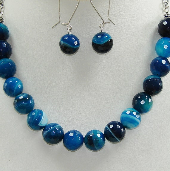 Blue Agate Necklace and Earrings