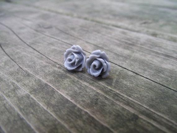 THE ROSETTE EARRINGS - Grey