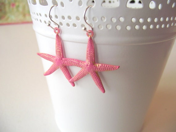 THE BEACH COLLECTION - Golden Pink Starfish - Dangle Earrings