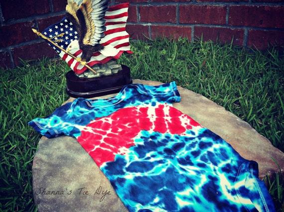 God Bless America patriotic tie dye baby bodysuit size 18M