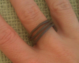 Men's Ring Band Handmade from Vintage Ranch Wire Simple