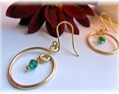 Earrings-Gold Small hoops with Crystal dangle