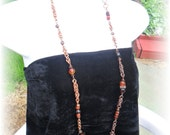 Long Necklace Carnealian beads And Copper Chainmaille