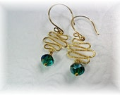 Gold Squiggle Earrings With Beautiful Faceted Rondelle Crystal Dangles