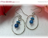 Earrings Silver Wire With Blue Dangles