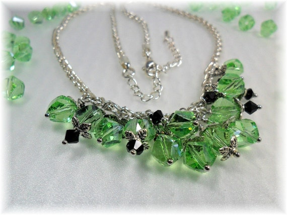 Peridot Crystal Bead Necklace