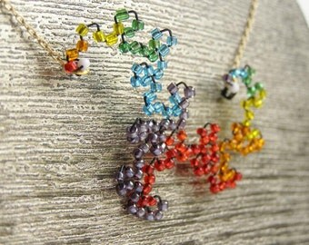 Dragon Curve Fractal Necklace - Beaded Rainbow