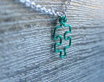 Small Green Puzzle Pendant