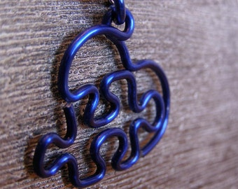 Puzzle Heart Necklace - Large 12g Navy Blue