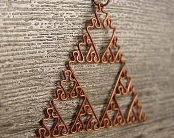 Sierpinski Triangle - Fractal Necklace in Raw Copper