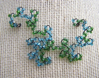 Fractal Necklace - Dragon Curve with Blue and Green Beads