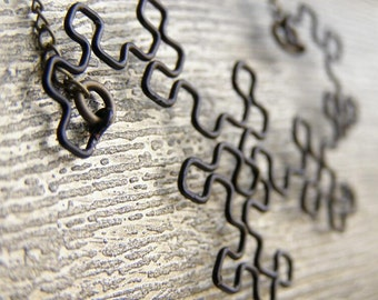 Fractal Necklace - Dragon Curve in Black
