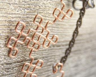 Fractal Bracelet - Dragon Curve in Raw Copper