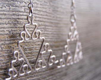 Fractal Earrings - Sierpinski Triangles in Silver