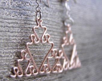 Fractal Earrings - Sierpinski Triangles in Rose Gold