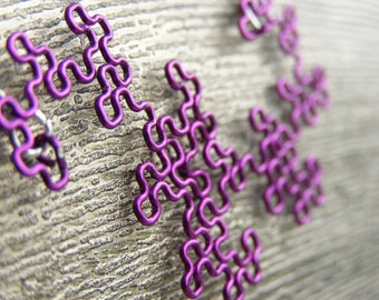 Fractal Necklace - Dragon Curve - 8th Iteration in Amethyst